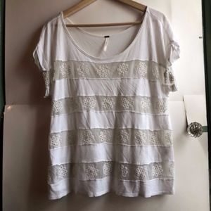 FREE PEOPLE White Floral Crochet Striped Blouse